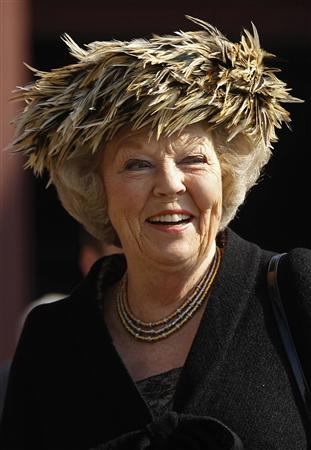 File photo showing Netherlands' Queen Beatrix smiling during a welcome ceremony at a former coal mine in Essen