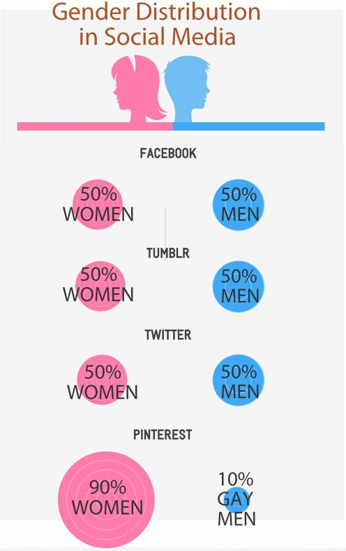 gender distribution in social media infographic