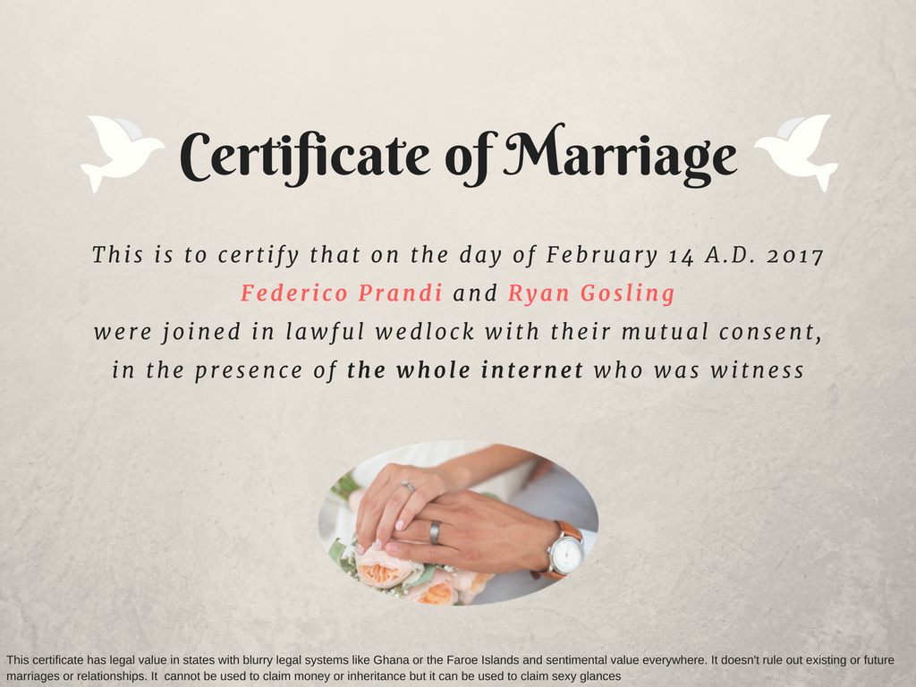 Certificate of Marriage with Ryan Gosling